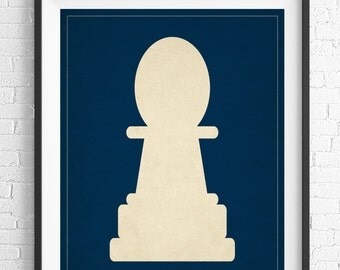 Chess Art, Pawn Chess Piece Print, Board Game Art, Game Room Wall Art, Game Room Art, Game Room Decor, Nerd Gift, Geek Gift, Gifts for Dad