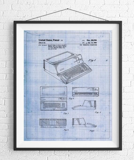 Apple computer patent print apple computer art blueprint like this item malvernweather Choice Image