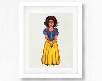 Snow White Print Disney Inspired Art Print, Snow White Drawing, Disney Princess, Princesses Wall Decor, Disney Inspired Wall Art