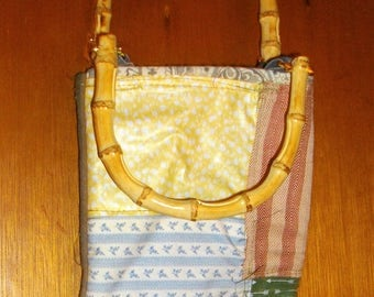 Upcycled Military Duffel Bag Converted To A Small Purse With Bamboo Handles