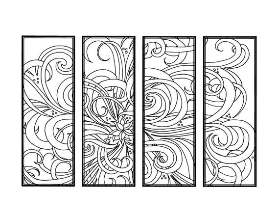 DIY Bookmarks Printable Coloring Page Adult Pages Instant Download Gifts For Bookworm ZenDoodle Bookmark Floral 19 From