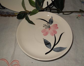Stetson Four Saucers Pink Flowers Vintage