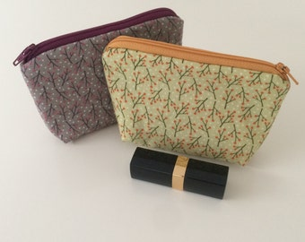 Grey, pink & purple or green and orange twig fabric zipper pouch