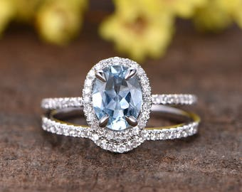 1.32ct natural blue aquamarine engagement ring set,Curved diamond matching band,14k white gold diamond wedding band,2pcs bridal ring set