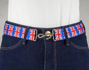 Union Jack Elastic Belt with S Buckle