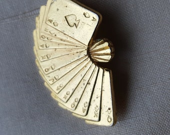 Vintage Gold-toned Card Fan Pin