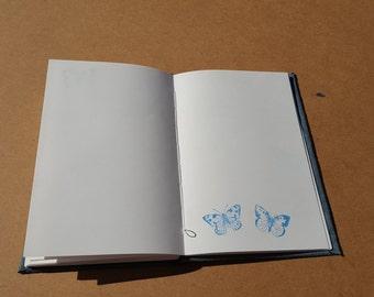 Handmade Blue Suede Journal or Sketchbook