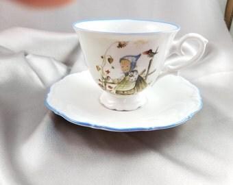 Hummel Porcelain Tea Cup and Saucer Sister Berta West Germany Litle Girl Feeding A Bird