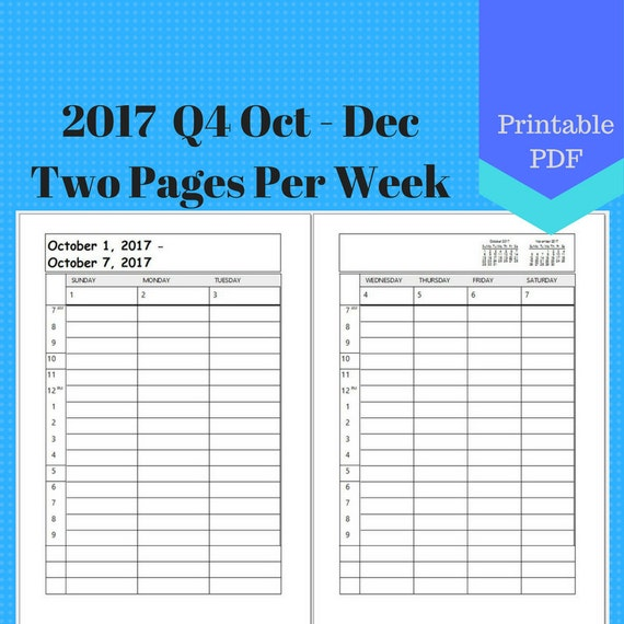 2017 October to December, Vertical 2 Page Per Week, Q4 Weekly Calendar Insert Pages, Planner, Discbound, Jr, Half