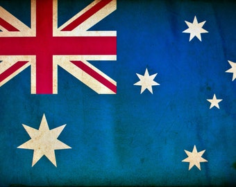 Vintage Australia Flag on Canvas, Australia Wall Art,  Australia Photo flag on canvas, Single or Multiple Panels Australian flag