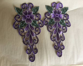 Pair of embroidered motifs