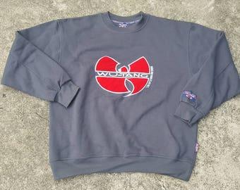 Vintage Wu Tang Clan 1996 Wu Wear Big Logo Sweater Raptees Rare