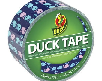 Duck® Tape,  Printed Crafting Tape, Adhesive  Tape  - Whale Printed    - 1.88 in x 10 yds