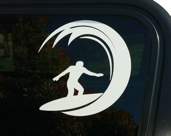 Wave Surfer vinyl decal,die-cut sticker surfer surfing surfboard catching waves design surf beach car truck window decal