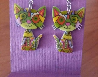 EARRINGS CAT GREEN
