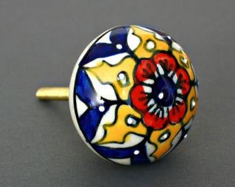 Round Embossed Ceramic Cabinet Knob