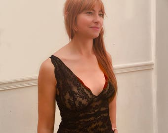 black camisole with vintage style longline cups handmade by fidditchdesigns