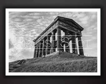 Black and white print, Penshaw Monument photo, Fine art photography, Landscape image, North East landmark shot,