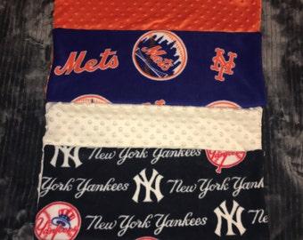 MLB Mets, Yankees Zippered Fleece/Minky Pillow Cover, 19x19in, New York Pillow Cover, MLB Gift, Baseball Fan, Sports Fan