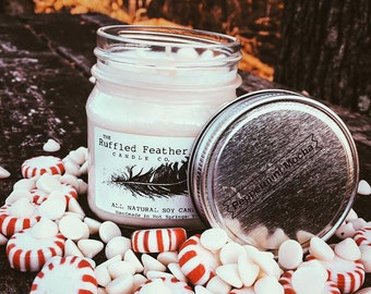 Peppermint Mocha Soy Candle, All Natural Soy Candle, 8oz, The Coffee House @ The Ruffled Feather Candle Co.