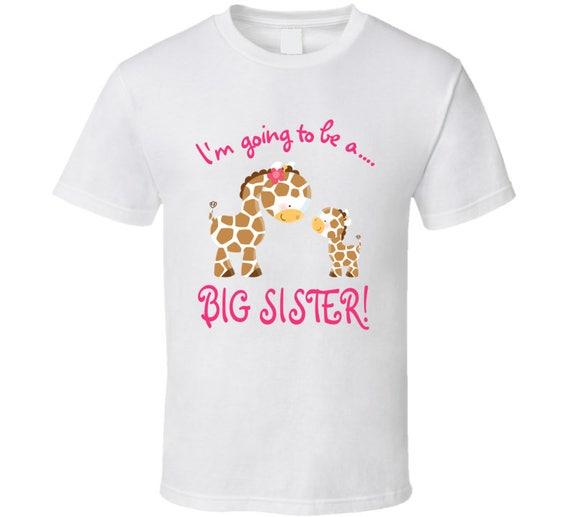 Cute Funky Giraffes Big Sister T-shirt,big Sister Pink Giraffes Baby,big Sister T-shirt