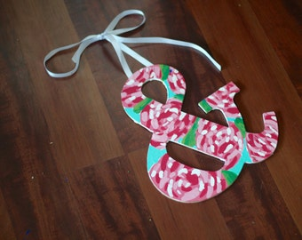 Wooden Letters | Lilly Pulitzer | First Impression | Monogram | Hand Painted | Floral | Alphabet | Greek Letter | Dorm Decor | Nursery Decor