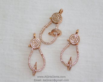 Medium Rose Gold Plated Lobster Claw Clasp and Pave Jump ring  13 mm x 35 mm Connector bead chain necklace Cubic Zirconia Paved CZ Findings