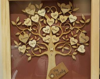 """Wooden Family Tree Handmade 12"""" x 12"""""""