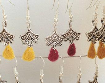 Silver and wool earrings
