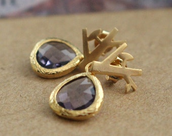 Gold Little Trees Earrings with Amethyst Drop Faceted Stone