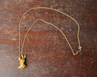 Vintage Gold Bunny Rabbit Pendant Necklace, Easter Basket Gift, Gold Chain Jewelry