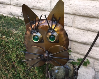 CAT Garden Statue Really Cool lawn art. 2 ft tall and 1 ft tall versions. Hand made with Stone & Metal