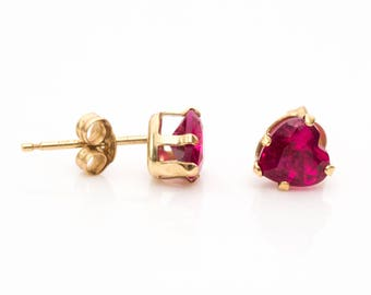 Vintage Heart Shaped Simulated Ruby 10k Gold Earring Studs, VJ #624A
