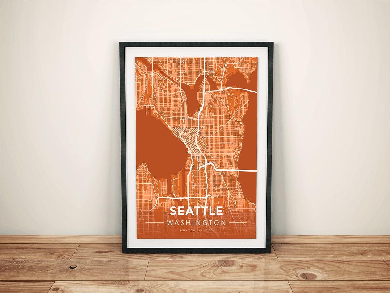 Premium Map Print of Seattle Washington Modern Burnt Unframed