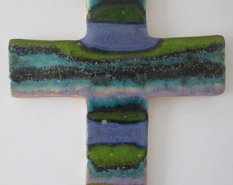 ceramic wall cross handmade colorful cross  devotional articles ceramic cross