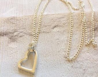 Silver Heart Necklace, Silver Necklace, Heart Necklace, Silver Heart Pendent, Boho Jewellery, Best Friends Gift, Silver Heart.