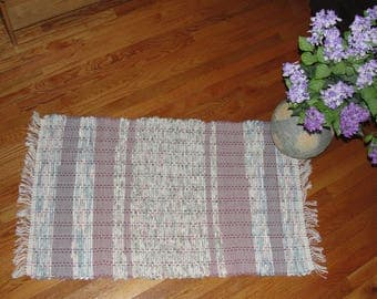 "Hand Woven Rag Rug Mauve Green Multi Measures 25"" x 46"" Item#4169"