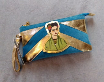 Beautiful Frida Kahlo blue and gold suede clutch bag with wrist strap
