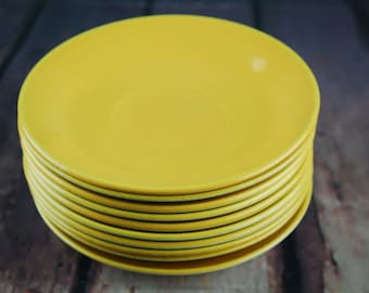 JOHNSON  BROS vintage yellow small plate set - 1960's Ironstone Made In ENGLAND