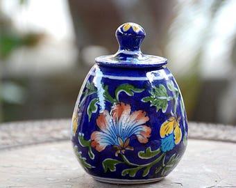 Blue Floral Blue Pottery Sugar Pot
