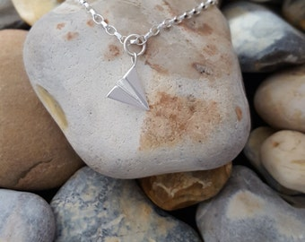 Sterling Silver 3d Origami Plane necklace