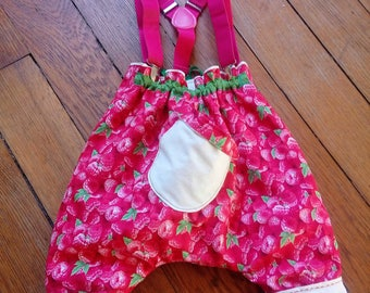 """Made in France. """"Rubus Idaeus""""   Handmade   Single room   High pants with straps   Girl   8/10 months   100% cotton   65 euros"""