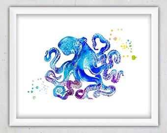 Watercolor Octopus Print, Nursery Nautical Print, Marine Life Print, Digital Art Print, Printable Wall Decor, Blue Nursery Print, Home Decor