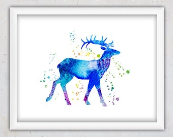 Nursery Digital Art Print, Blue Deer Art Print, Nursery Watercolor Print , Nursery Wall Art, Printable Deer Download Art, Kids Room Art