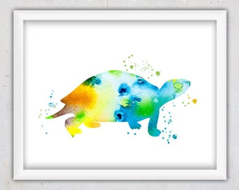 Watercolor Turtle Art Print, Nursery Watercolor Art Print, Animal Modern Print, Poster, Kids Download Print, Digital Printable Art, Instant