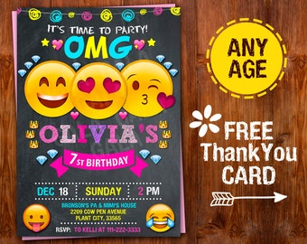 Emoji Invitation, Emoji Party, Emoji Birthday Invitation, Girl Emoji Invitation, Thank you Emoji Birthday Invitation, Smile Invitation OMG