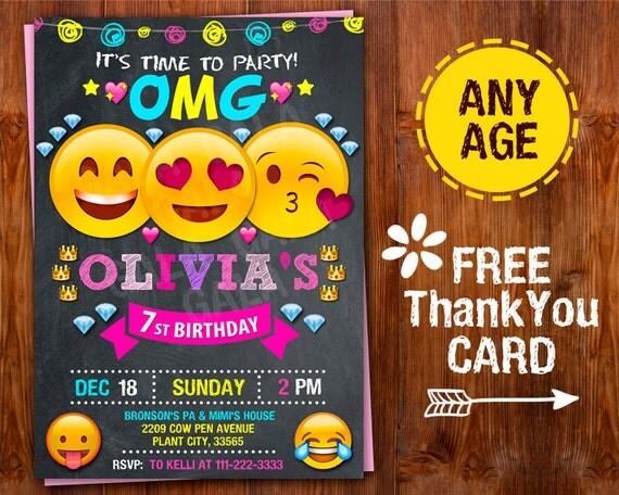 Emoji Invitation Emoji Party Emoji Birthday Invitation Girl