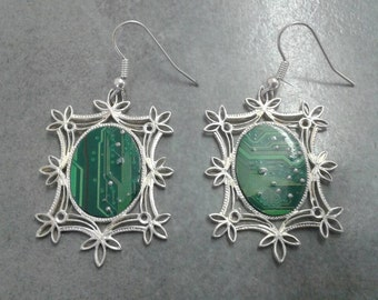 earrings green printed circuit board