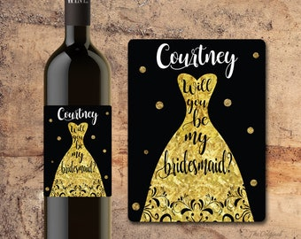 Will You Be My Bridesmaid Wine Label, Will you be my Maid of Honor Wine Label, Asking Maid of Honor Asking Bridesmaid WEDDING PARTY PROPOSAL