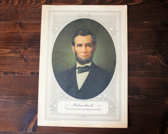 Vintage President Abraham Lincoln Print by Forbes Litho Mfg Company 1929